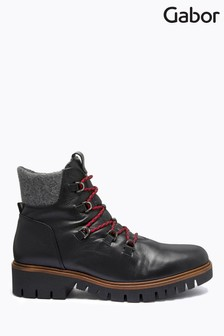 Gabor Black Valley Foot Fit Leather Ankle Boots