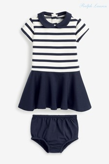 Ralph Lauren Navy Stripe Logo Dress