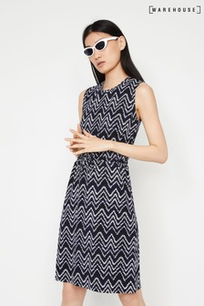 Warehouse Blue Dye Chevron Drawstring Dress