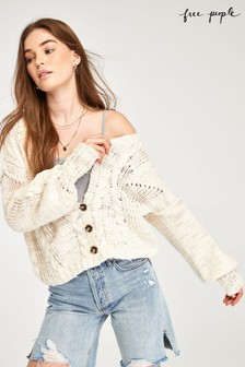Free People Cream Cable Knit Cardigan