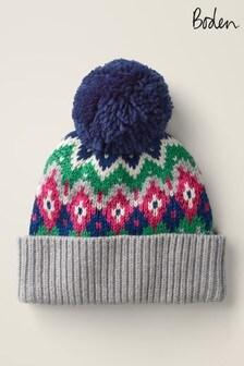 Szara połyskująca czapka w skandynawskie wzory Boden