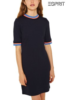 Esprit Blue Stretch Dress With Contrast Details