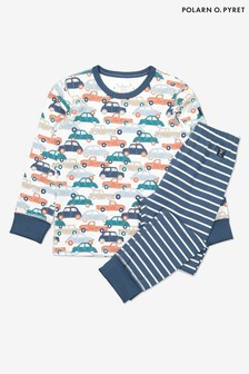 Polarn O. Pyret Blue Organic Cotton Car Print Pyjamas