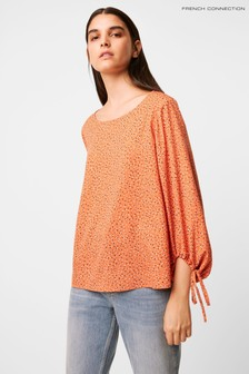 French Connection Orange Print Long Sleeve Top