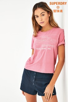 Superdry Pink Outline Piping Boxy T-Shirt