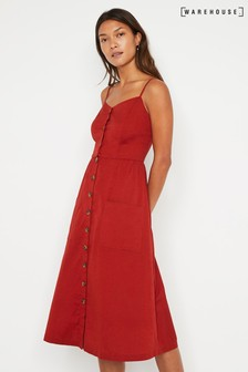 Warehouse Rust Button Through Midi Cami Dress