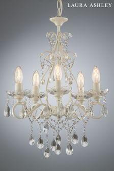 White Shamley Painted 5 Light Chandelier