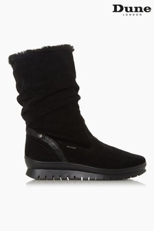 Dune London Black Suede Water Resistant Faux Fur Boots