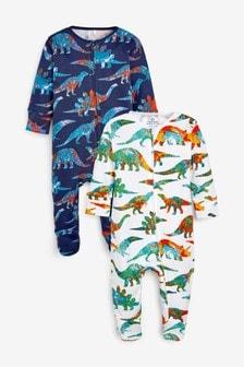 2 Pack Tie Dye Dinosaur Zip Sleepsuits (0mths-2yrs)