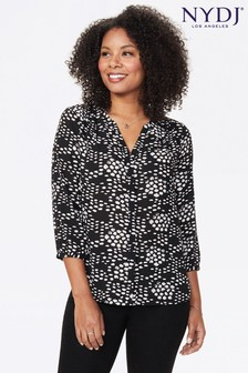 NYDJ Black Speckled Harmony Print Pintuck Blouse