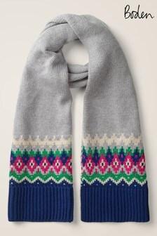 Boden 灰色亮面蘇格蘭費爾島圖案圍巾