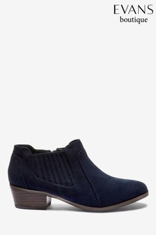 Evans Extra Wide Fit Navy/Blue Elastic Side Detail Boots