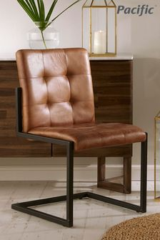 Pacific Vintage Brown Leather And Iron Chair
