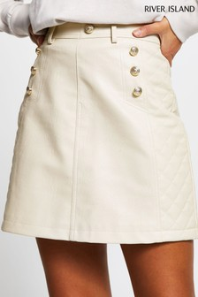 River Island Cream Light Quilted Mini Skirt