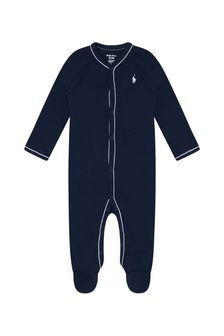 Ralph Lauren Kids Baby Boys Navy Cotton Babygrow
