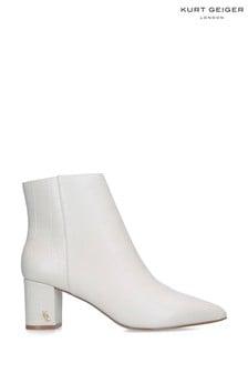 Kurt Geiger London Burlington Cream Croc Print Ankle Boots
