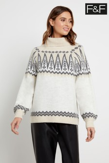 F&F Cream Pretty Catwalk Fairisle Pattern Jumper