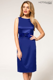 HotSquash Blue Burnout Waistband Silky Shift Dress