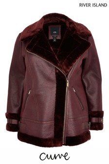 River Island Curve Red Oversized Shearling Aviator Jacket