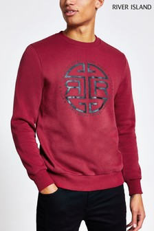 River Island Red Slim Front Print Crew Neck Jumper