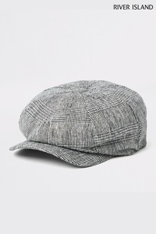 River Island Prince Of Wales Check Baker Boy Hat