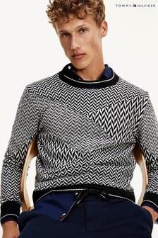 Tommy Hilfiger Black Patchwork Herringbone Sweater