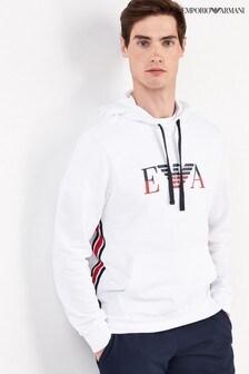 Emporio Armani White Logo Hoody