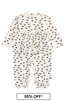 Baby Girls Cream Cotton Babygrow