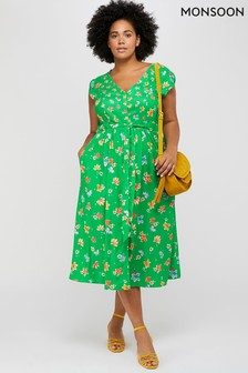 Monsoon Green Mora Floral Print Midi Dress