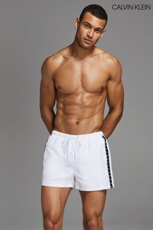 Calvin Klein White Mono Tape Short Drawstring Trunks