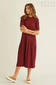 Oliver Bonas Ribbed Rust Midi Dress
