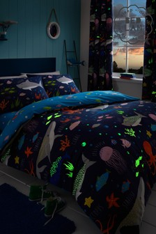 Bedlam Glow In The Dark Sea Life Duvet Cover and Pillowcase Set