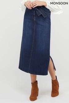 Monsoon Blue Claremont Maxi Skirt