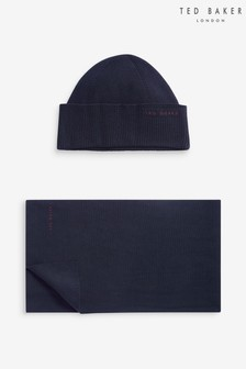 Ted Baker Navy Hat And Scarf Set