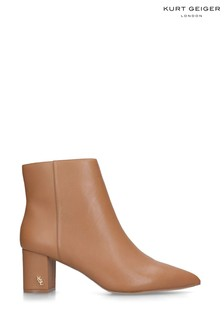 Kurt Geiger Ladies Burlington Camel Leather Ankle Boots