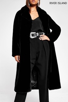River Island Black Belted Faux Fur Robe