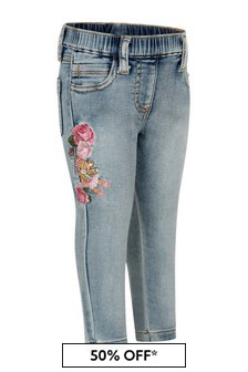 Monnalisa Baby Girls Blue Denim Stretch Little Teddy Jeans