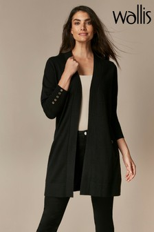 Wallis Black Wool Longline Cardigan