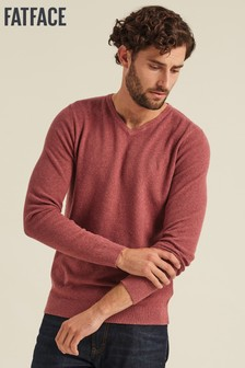 FatFace Pink Cotton Cashmere Stitch V-Neck Jumper