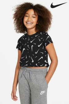 Nike Black Printed Crop T-Shirt