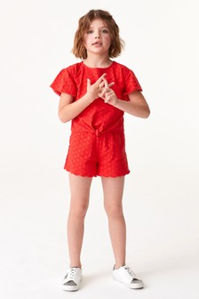 Schiffli Co-ord Top And Short Set (3-16yrs)