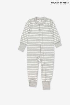 Polarn O. Pyret Grey GOTS Organic Striped Sleepsuit