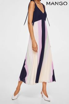 Mango Navy/Lilac Pleat Dress