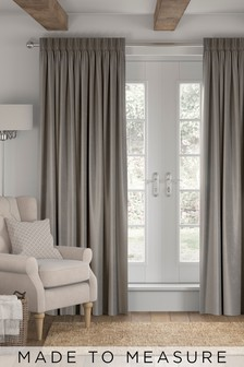 Soft Velour Stone Natural Made To Measure Curtains