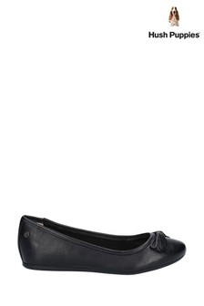 Hush Puppies Black Heather Bow Ballet Shoes