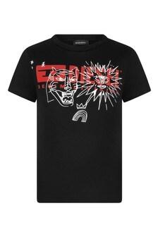 Boys Black Cotton Logo T-Shirt
