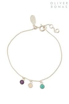 Oliver Bonas Silver Tone Triple Stone Drop Bracelet