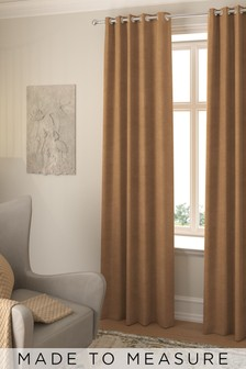 Made To Measure Tan Soft Velour Curtains