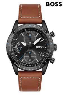 BOSS Pilot Edition Chrono Leather Strap Watch
