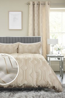Champagne Geo Jacquard Duvet Cover and Pillowcase Set